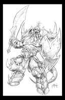WoW Draenei Warrior pencils by Jason Metcalf by JasonMetcalf