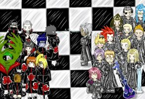 Organisation XIII VS Akatsuki by Trekiael