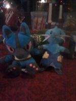 Lucario and Dewott Plushies by Koji45