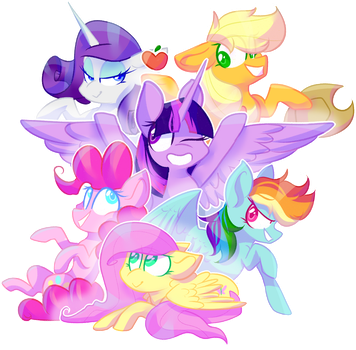 {Redraw} Mane Six (+SPEEDPAINT) by OliveCow