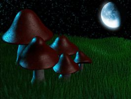 Mushrooms in the dark by MrRookie