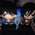 My Eren and Mikasa Plushies :) by CommanderCaitlinShep