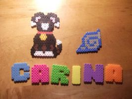 Perler Bead - Dog, Carina and Leaf Ninja Emblem by hyper-evil-aly39
