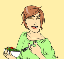 Women Laughing While Eating Salad by Skyfoogle