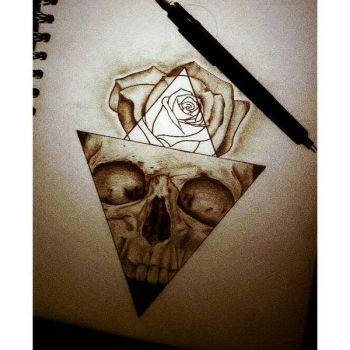 .....skull and rose by dempsey21