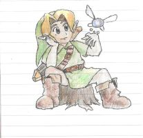 Link- Sitting On Astump - Ocarina Of Time (3d) by rollatornewspappergi