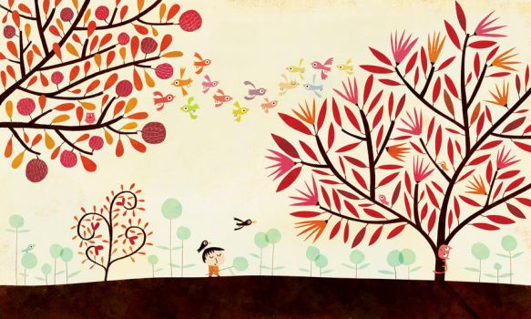 Birds and trees by nicolas-gouny-art