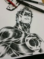Green Lantern _ lunch doodles  by jerkmonger