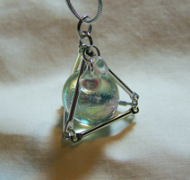 Silver Pyramid with Iridescent Sphere by mymysticgems