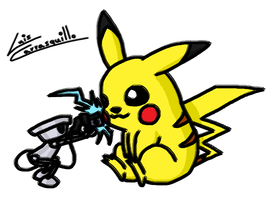 Pikachu Recharges ChibiRobo by Lwiis64
