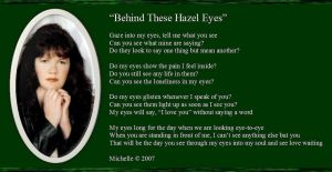 Behind These Hazel Eyes by VisualPoetress