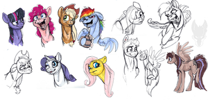Pony Sketchies by Tsebresos