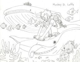 Luffy in the Ocean by Ms-Notebook