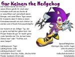 Gar Keinem the Hedgehog by Safariwisserin