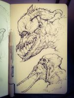 Crocodile zombie demon men by JulioNicoletti