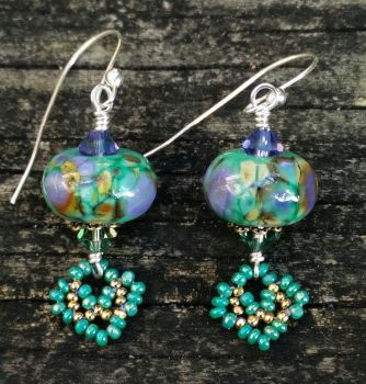 Beadwoven Turquoise Lampwork Earrings by penguine145