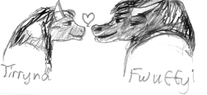 Tirryna and  Fwuffy sketch by SailorX