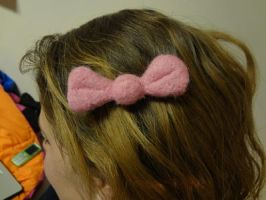 Felted Pink Bow Clip by eagle-elf