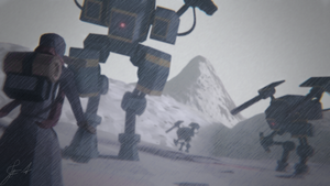 Robots in a Snowstorm (Lowpoly - DailyRender) by Folztarg