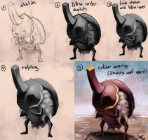 Super rare golden rhinoceros beetle process by Sormia