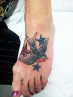 Swallow with nautical stars on Foot (3) by Ashtonbkeje