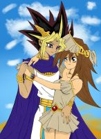 Atem and Mana - Coloured Version by DragonNin