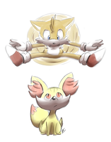 Tails and Fennekin by Blue-Chica