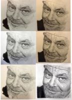 Process of drawing Jack Nicolson - Part 2 by chaseroflight