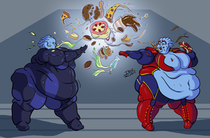 Commission: Asari Food Fight by Idle-Minded
