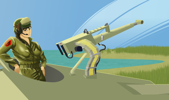 High caliber machinegun (human for scale) by Pachumaster