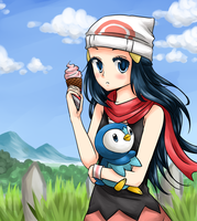 Dawn, Ice Cream, Piplup by wingpai
