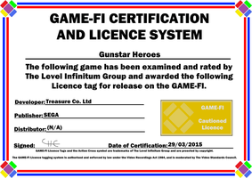 Gunstar Heroes Game-Fi Certificate by LevelInfinitum