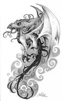 Tattoo flash - dragon by tikos