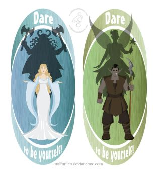 Shirt Design: Dare to be Yourself I and II by wolfanita