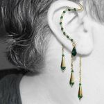 Emerald and gold ear wrap v9 by YouniquelyChic