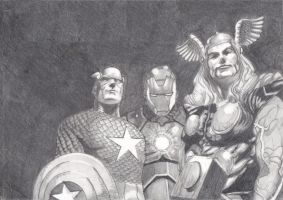 Cap. America, Iron Man, Thor by AdrianoPlat00n