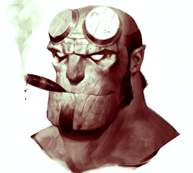 Hellboy Portrait by SterlingTuttle