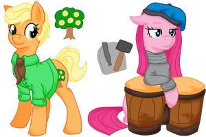 Eclipseverse Applejack and Pinkamena by crowmagnon
