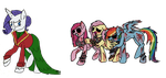 MLP - Justine and her three suitors by Dragon-Flash
