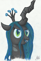 Queen Chrysalis - Oil Pastels by MoonlightFL
