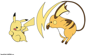 Pikachu Vs  Raichu by Nightwind-Dragon