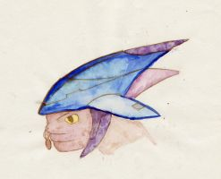 Sangheili Head- Water color by HWPD
