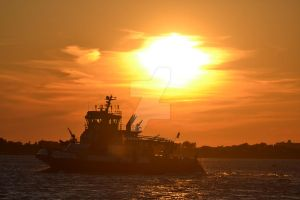 NYFD on bay at sunset 3 by ArtieWallace