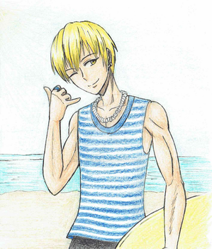 Kise modeling at the beach. by HannahTheHedgehog15