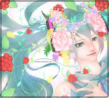 Hana to Miku ( Miku and flowers ) by Z-E-N-E-R-O