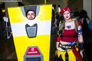 Anime Boston 2015 - Claptrap and Lilith by VideoGameStupid