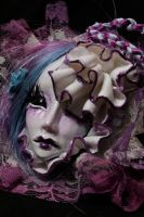 Art Doll face necklace Purple by cliodnafae27
