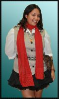 Scarf Red with Red Embroidery by HasturCTS