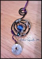 Black and purple  dream catcher necklace by HollieBollie