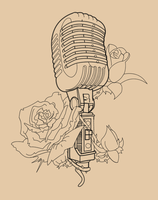 Vintage Mic With Roses Lineart by Skykittens